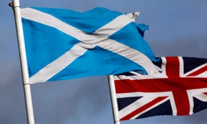 The Union Jack and Scottish Saltire together