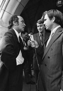 Pierre Trudeau squares off with CBC reporter Tim  Ralfe
