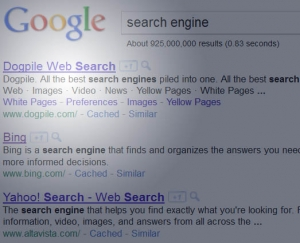 Google search results now view Dogpile as most relevant for 'search engine'