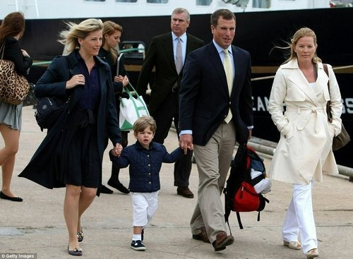 Sophie, the Countess of Wessex and her son James, Viscount Severn, walk alongside the Queen's grandson Peter Phillips (the only son of the Princess Royal) and his Canadian wife Autumn following the Royal family's Scottish cruise last year. Princess Eugenie, Princess Beatrice and their father Prince Andrew, The Duke of York, follow on