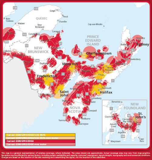 Rogers Wireless coverage in the Atlantic provinces
