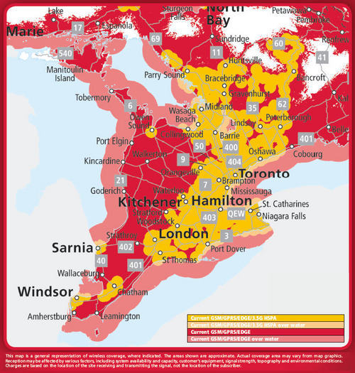 Rogers Wireless coverage in Ontario