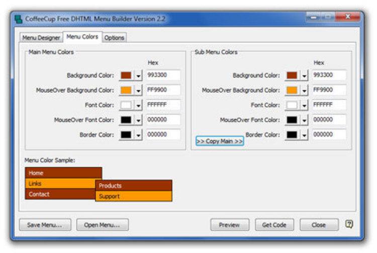 CoffeeCup Free DHTML Menu Builder - Простая в применении программа для созд